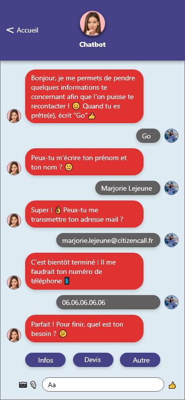 scenario chatbot formulaire contact